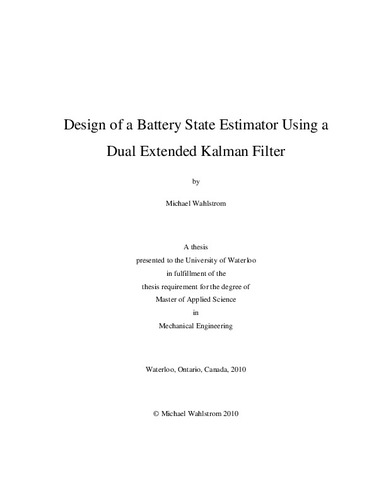Design of a Battery State Estimator Using a Dual Extended
